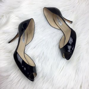 JIMMY CHOO Logan Patent Leather Peep Toe Heels